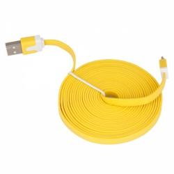 USB Oplaadkabel (A/C) FLAT 3 Meter (Geel)
