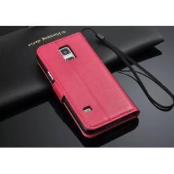 Galaxy S5 mini Retro Wallet Ledere Case - hot pink