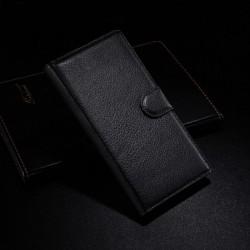 Sony Xperia Z3 Lychee leder wallet flip cover - zwart