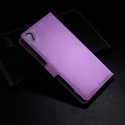 Sony Xperia Z3 Lychee leder wallet flip cover - paars
