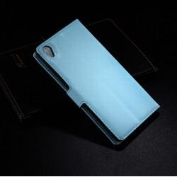 Sony Xperia Z3 Lychee leder wallet flip cover - sky blue